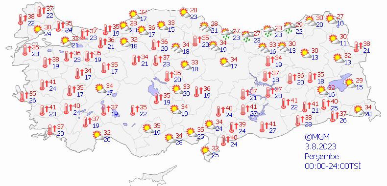 Bugün'ün Hava Tahmini Haritalı
