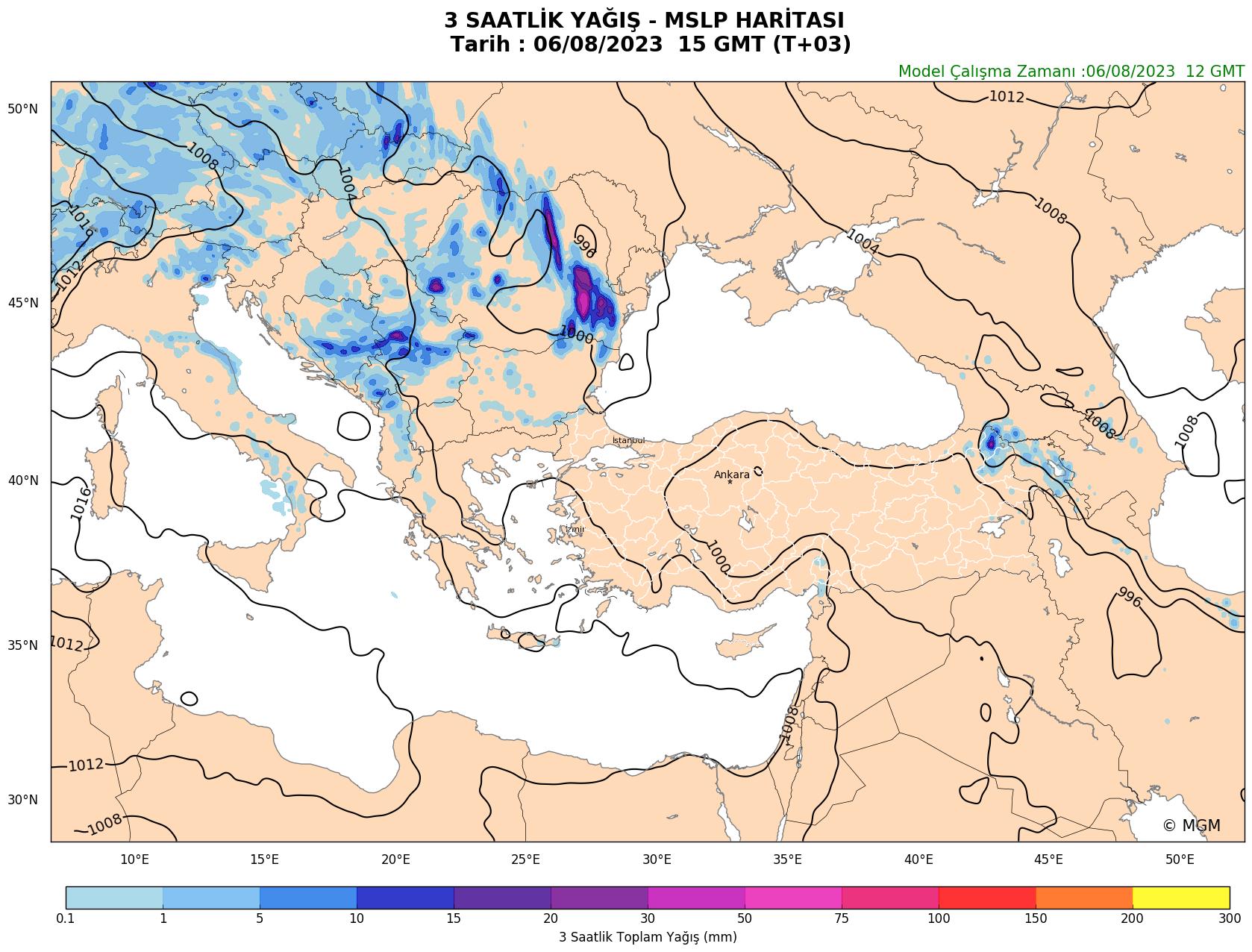 WRF Model Harita: 3 Saatlik Yağış Haritası