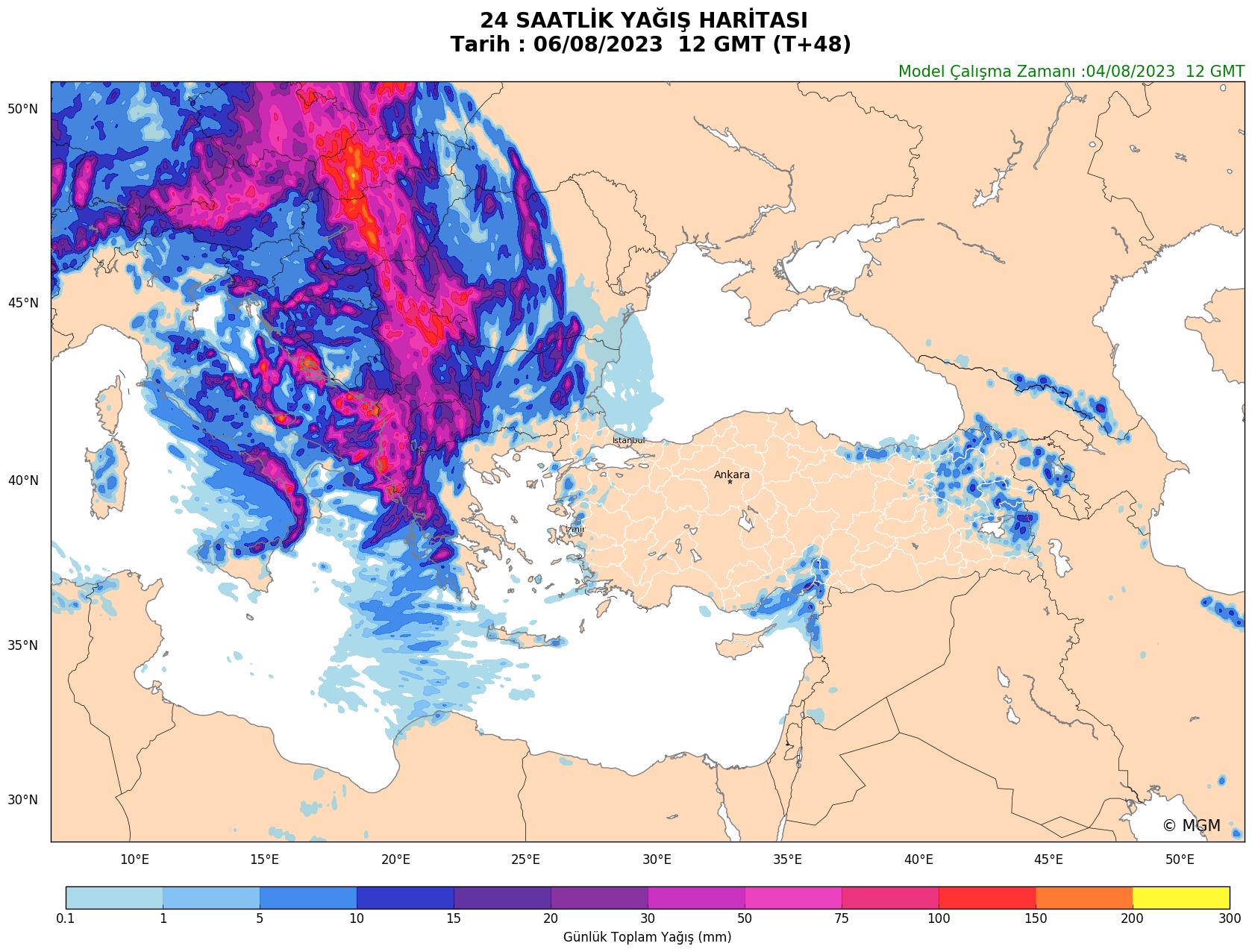 WRF Model Harita: Günlük Yağış Haritası