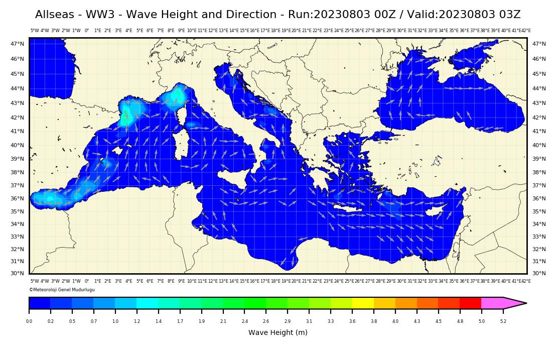 WW3 Dalga Yüksekliği Modeli: Bütün Denizlerimiz