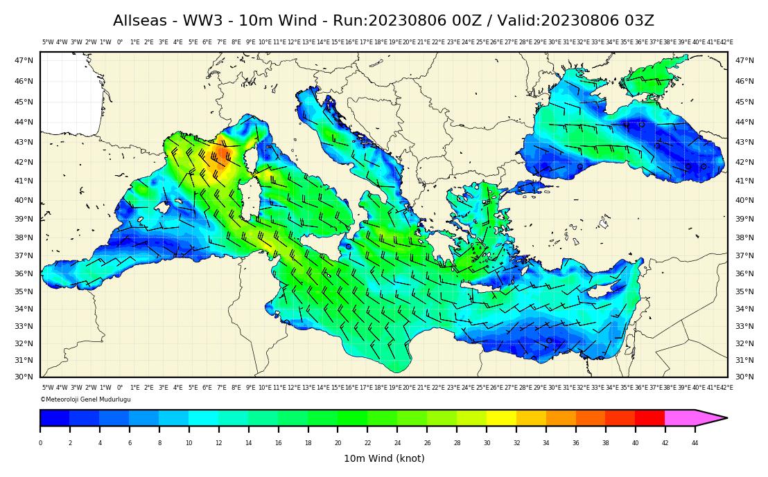 WW3 Rüzgar Yön ve Hızı Modelii: Bütün Denizlerimiz