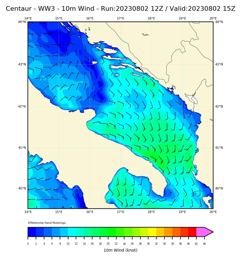 ww3 Harita: 10 m. Wind Direction and Speed