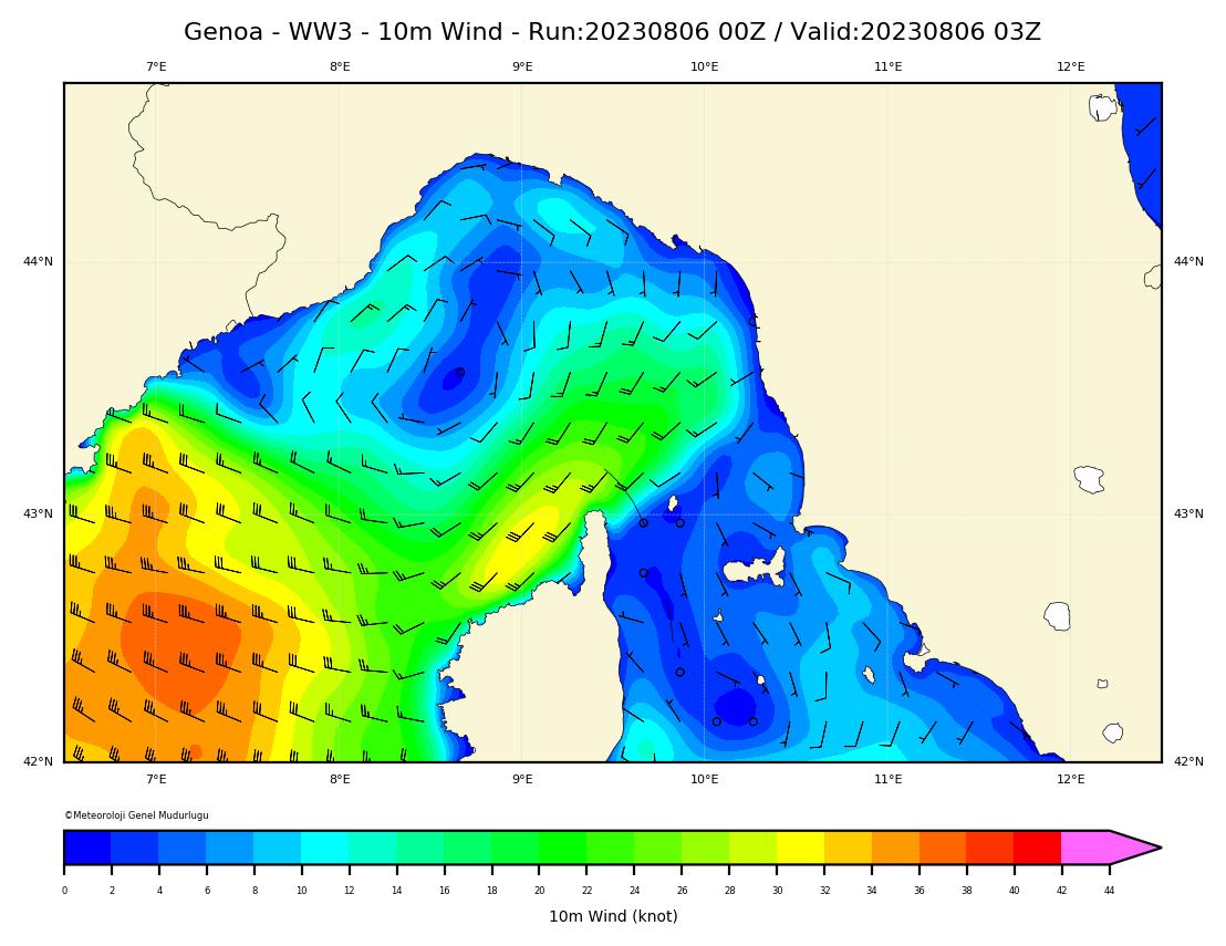 WW3 Harita: 10 m. Rüzgar Yön ve Şiddeti