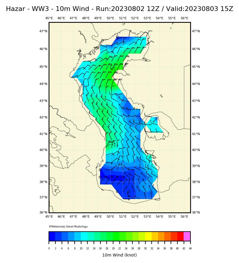 Caspian Sea, WW3 - Wind Direction & Sd   Turkish State ... on