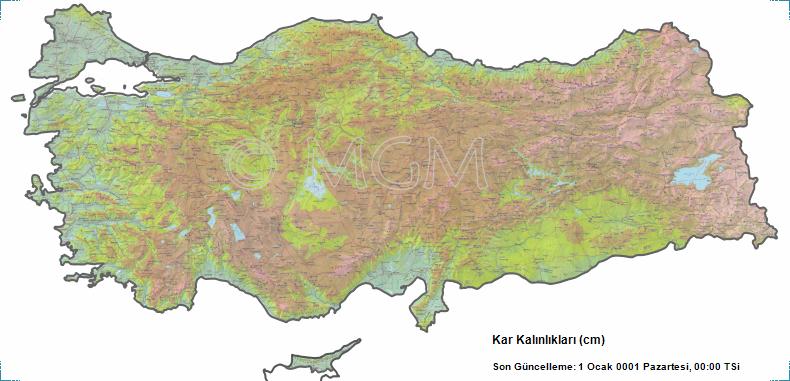 Türkiye'nin Kayak Merkezlerindeki Güncel Kar Kalınlığını gösteren harita