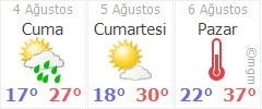 Artvin 3 günlük hava durumu